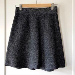Loft black white marled sweater skirt size XXS P